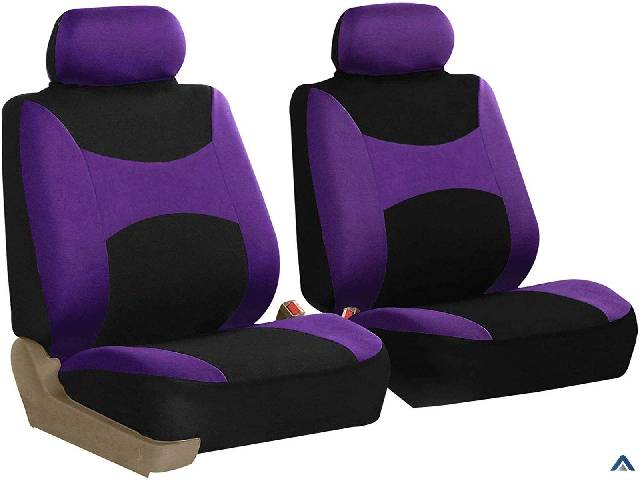 Group FB030PURPLE-COMBO Seat Cover Combo Set with Steering Wheel Cover and Seat Belt Pad (Airbag Compatible and Split Bench Purple)