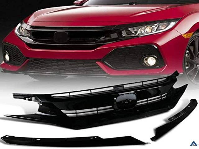 Front Bumper Mesh Hood Grille Grill with Eyelids Compatible For Honda Civic 10th Gen 2016-2018 FK8 Type-R Style Gloss Black